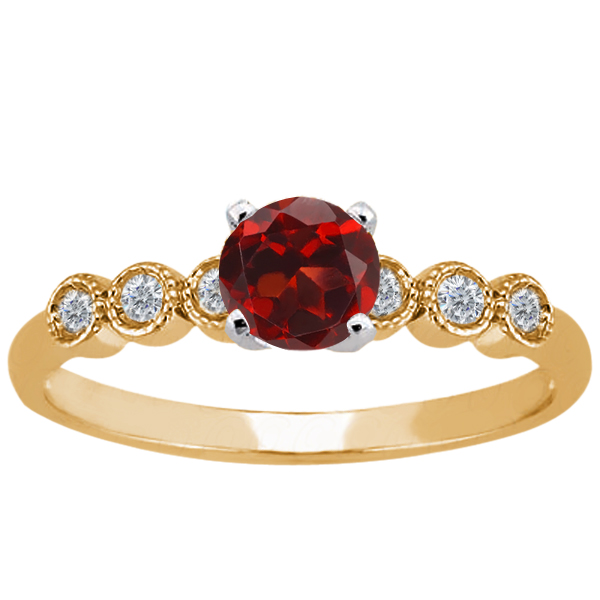 1.10 Ct Round Red Garnet White Diamond 925 Yellow Gold Plated Silver Ring
