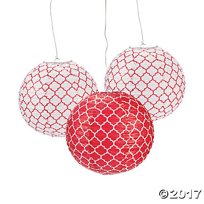 Red Quatrefoil Hanging Paper Lanterns