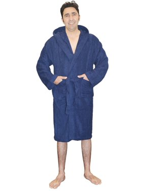 4aec119800 Product Image Mens 100% Terry Cotton Toweling Bathrobe Dressing Robe Hooded  Navy XXL