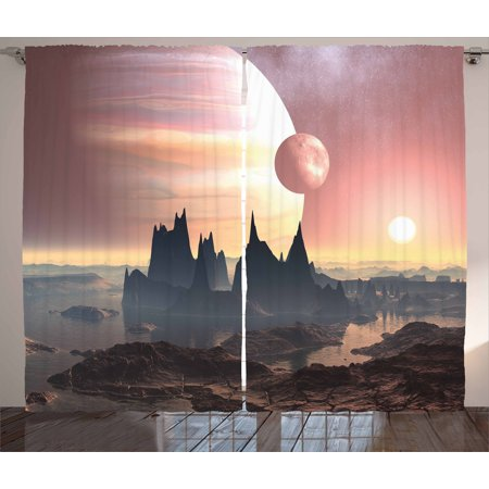 Fantasy Curtains 2 Panels Set, Twin Moons Over Planet Europa Apocalypse Armageddon Deserted Landscape, Window Drapes for Living Room Bedroom, 108W X 108L Inches, Blush Yellow Dark Brown, by (Over The Moon Toile)