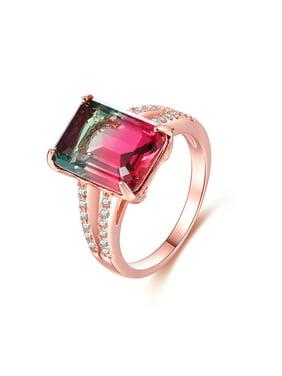 Peermont 18K Rose-Gold Plating Watermelon Tourmaline Ring