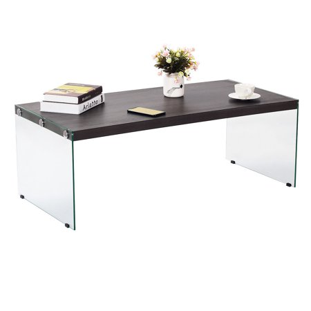Costway Modern Soho Coffee Table Wooden Top Tempered Glass Legs Living Room (Soho Glasses Shop)