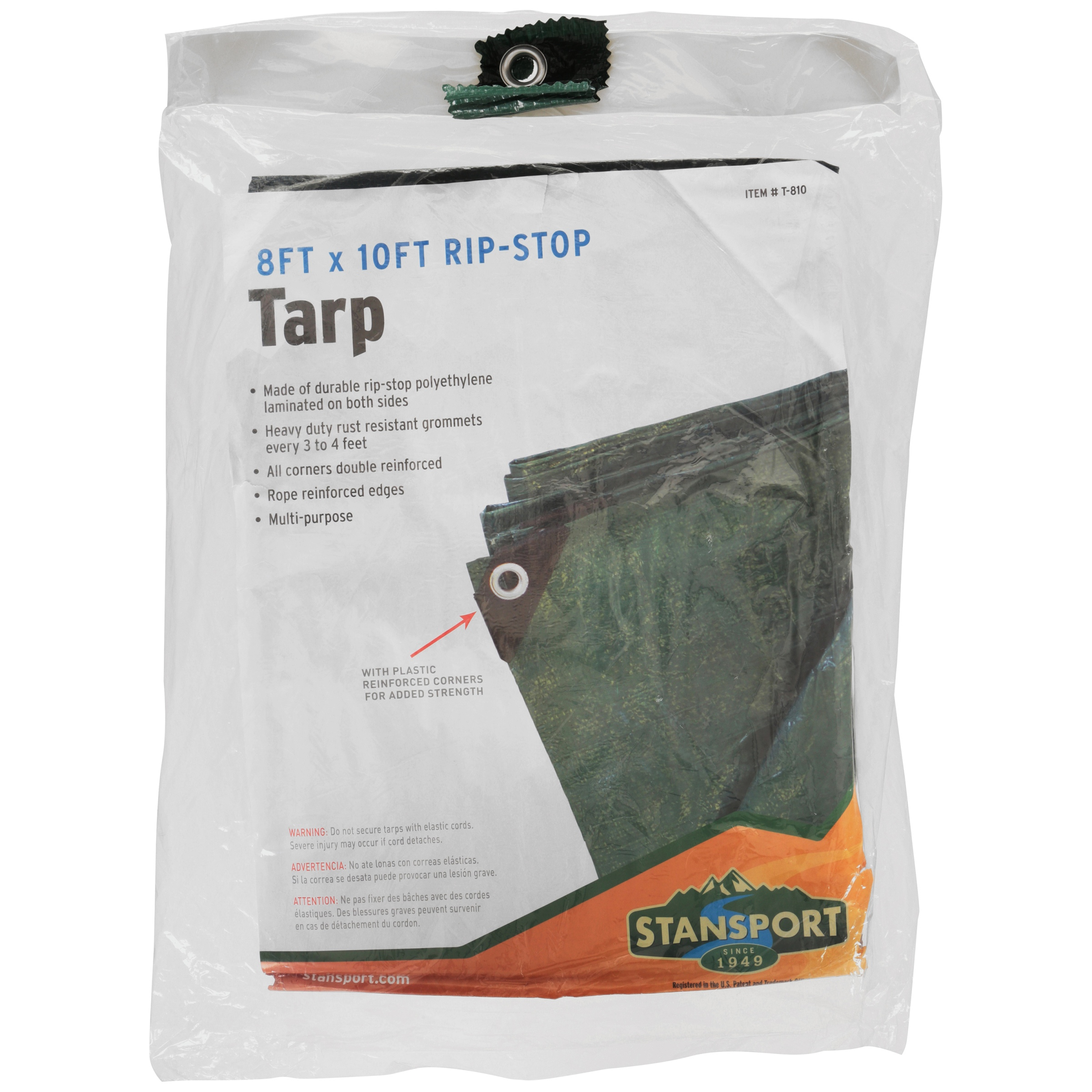 Stansport Rip Stop Tarp - 8 FT x 10 FT - Green