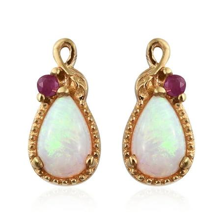 Welo Opal Ruby Vermeil Yellow Gold Plated Silver Stud Earrings For Women
