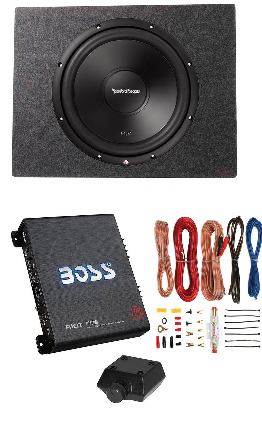 """Shallow Enclosure Rockford Fosgate 12/"""" 500W Subwoofer Amplifier /& Wire Kit"""