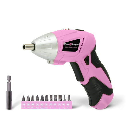 Pink Power PP481 3.6 Volt Cordless Electric Screwdriver and Bit Set for
