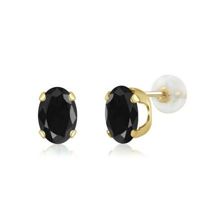 2.14 Ct Oval 7x5mm Black Sapphire 14K Yellow Gold Stud Earrings
