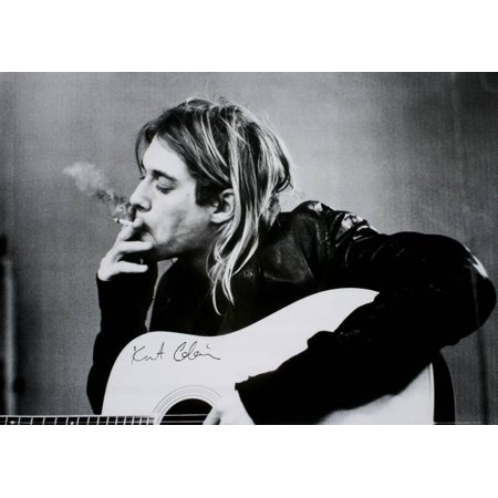 Black History Month Posters (Kurt Cobain (Smoking) With Guitar Black & White Music Poster)