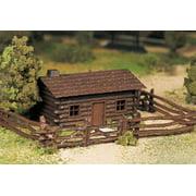 Bachmann - Plasticville U.S.A.® Classic Kits -- Log Cabin w/Rustic Fence - O
