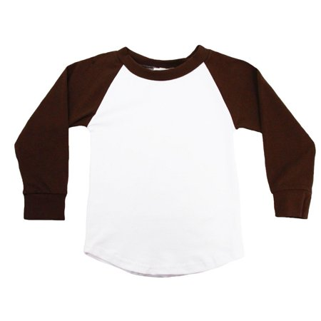 Unisex Little Kids Brown Two Tone Long Sleeve Raglan Baseball T-Shirt 2 Tone Tee