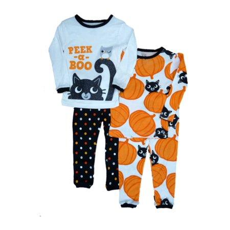 carters infant toddler girl 4 pc peek a boo halloween sleep set pajamas 2