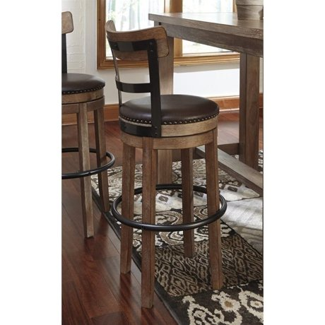Ashley pinnadel faux leather swivel bar stool in for Meuble ashley circulaire