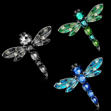 Bridal Party Jewelry Gifts - 3PCS Women Retro Rhinestone Dragonfly Brooch Pin Wedding Party Bridal Jewelry Gift