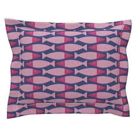 Modern Beach House Pink Nautical Navy Waves Bass Fish Pillow Sham by Roostery