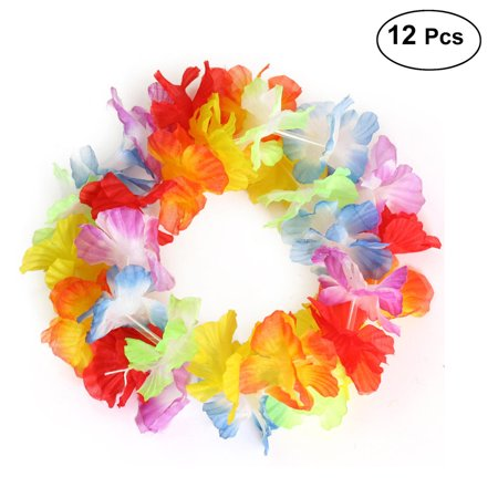 12pcs Hawaii Flower Head Wrap Garland Headband Headpiece for Festival Luau Beach Party (Colorful)