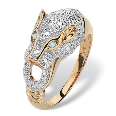 Round Pave Diamond Accent Panther Ring in 18k Gold over Sterling Silver