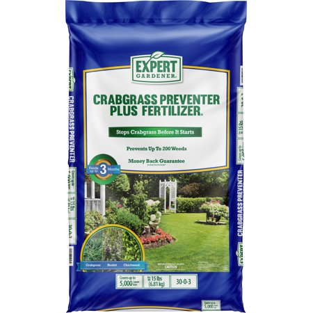 Expert Gardener Crabgrass Preventer Plus Fertilizer 30-0-3, 15 Pounds Covers up to 5,000 Square Feet