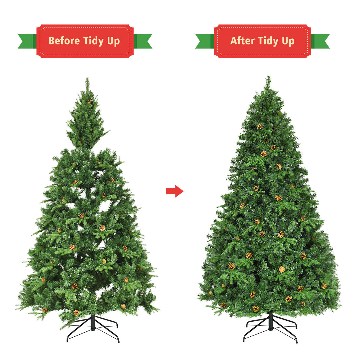 7Ft Pre-Lit Artificial Christmas Tree Hinged with 460 LED Lights /&Cones