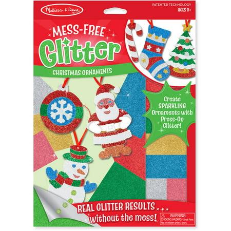 Melissa & Doug Mess-Free Glitter Christmas Ornaments - 6 Ornaments, 7 Glitter Sheets - Easy Kids Christmas Crafts