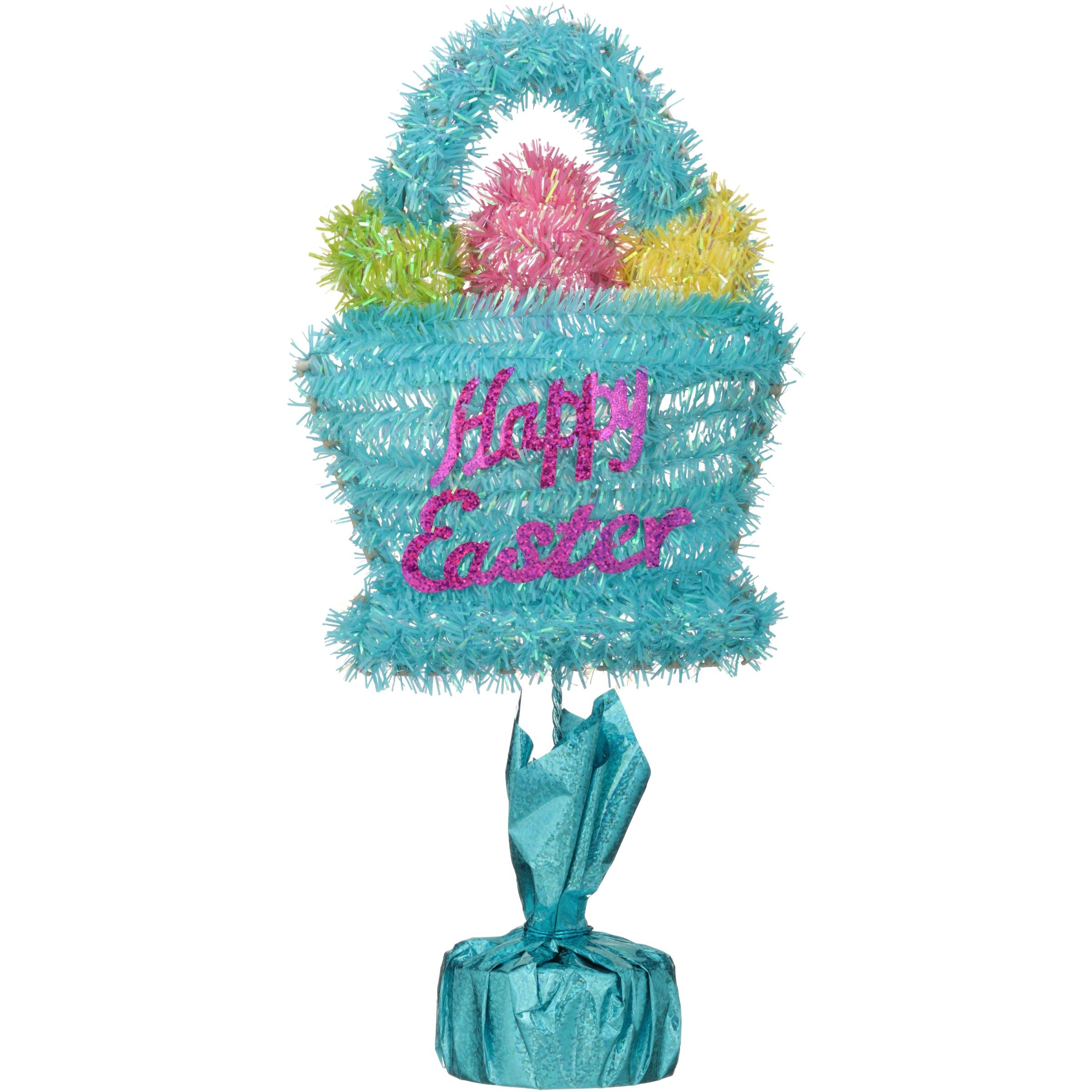 Easter Blue Basket Tinsel Table Top Decoration