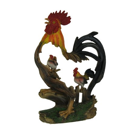 Country Rooster in Rooster Faux Wood Carved Statue