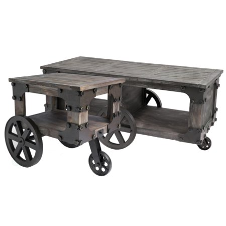 rustic industrial wagon style coffee end table with storage shelf and wheels set of 2. Black Bedroom Furniture Sets. Home Design Ideas