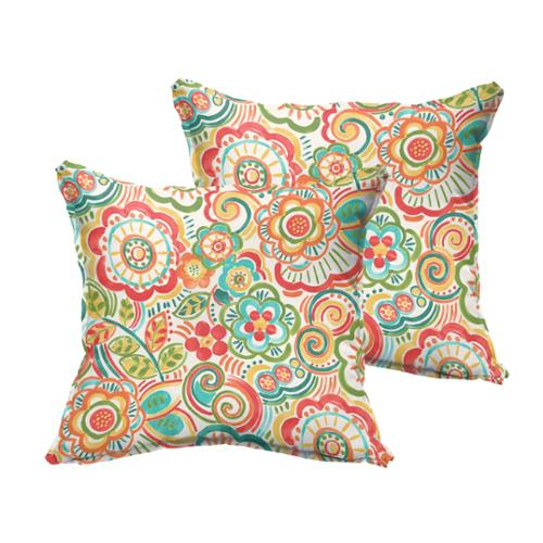 Selena Red Rio Floral Indoor/ Outdoor Flange Square Pillows (Set of 2) 20 x 20