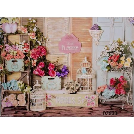 5X7Ft Photography Background Rose Flower Shop Vinyl backdrop For Studio DIY Curtain Prop New