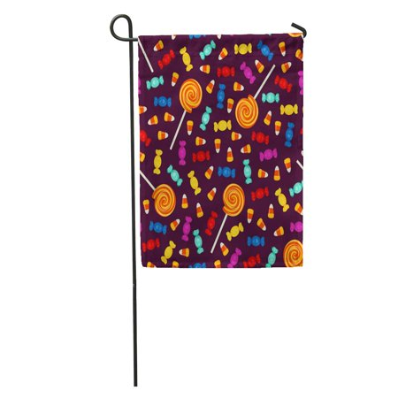 KDAGR Candy Halloween Small Sweets on Dark Holiday Trick Treat Bright Garden Flag Decorative Flag House Banner 12x18 inch - Halloween Sweets And Treats Ideas