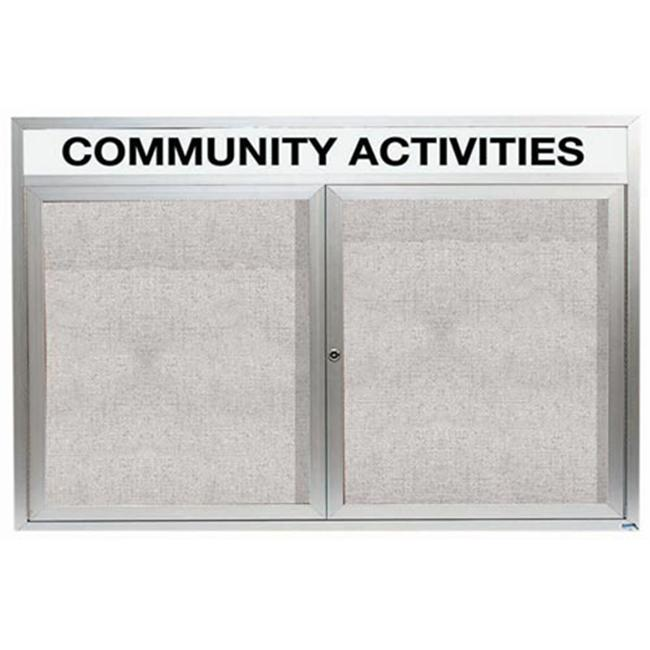 Aarco Products ODCC4872RHI Illuminated Outdoor Enclosed Bulletin Board with Header - Clear Satin Anodized