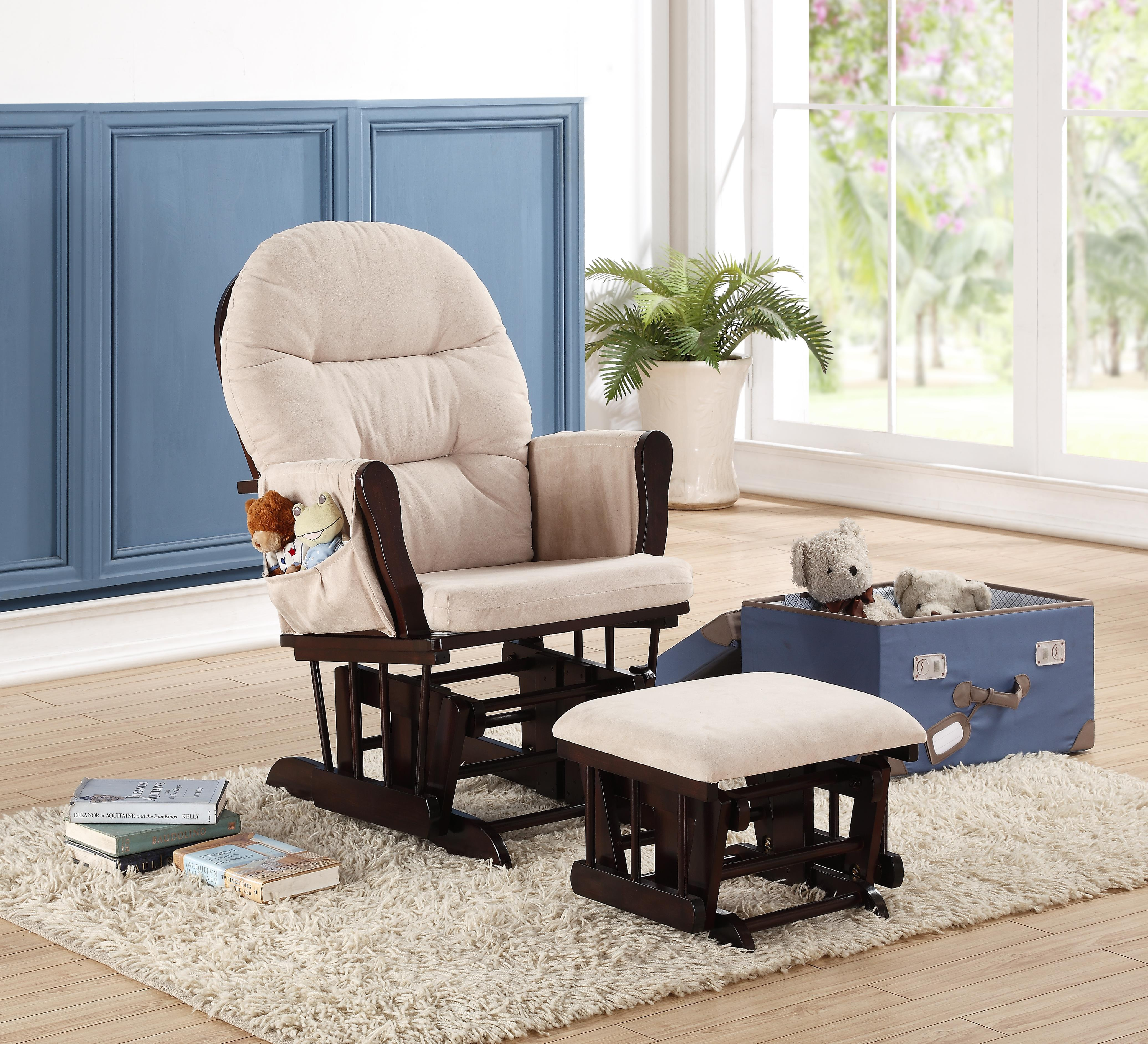 Naomi Home Brisbane Glider & Ottoman Set-Cushion Color:Cream,Finish:Espresso