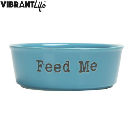vibrant life medium ceramic dog bowl blue 27 oz. Black Bedroom Furniture Sets. Home Design Ideas
