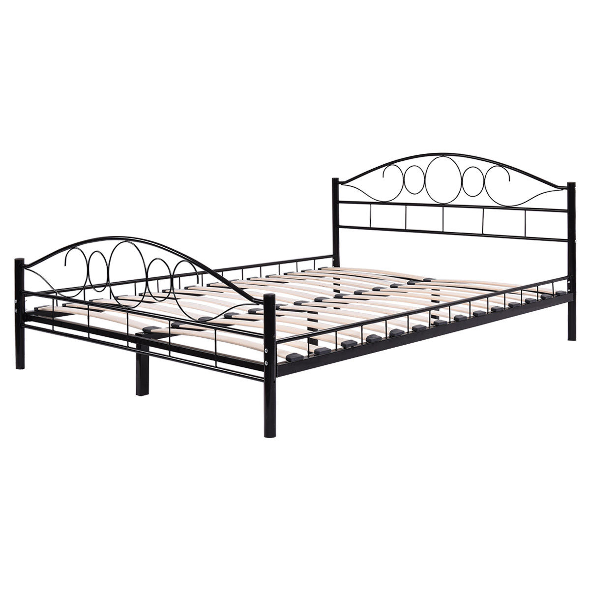 Goplus queen size wood slats steel bed frame platform headboard footboard black walmart com