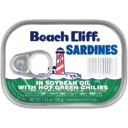 BEACH CLIFF Sardines in Soybean Oil with Hot Green Chilies, 3.75 Ounce Can, Wild Caught, High Protein Food and Snacks