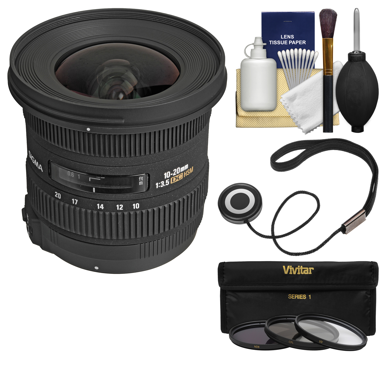 Sigma 10-20mm f/3.5 EX DC HSM Zoom Lens with 3 Filters Kit for Nikon D3200, D3300, D5300, D5500, D7100, D7200, D610, D750, D810, D4s DSLR Cameras