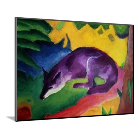 1911 Light Mount - Blue Fox, 1911 Animal Expressionism Wood Mounted Print Wall Art By Franz Marc