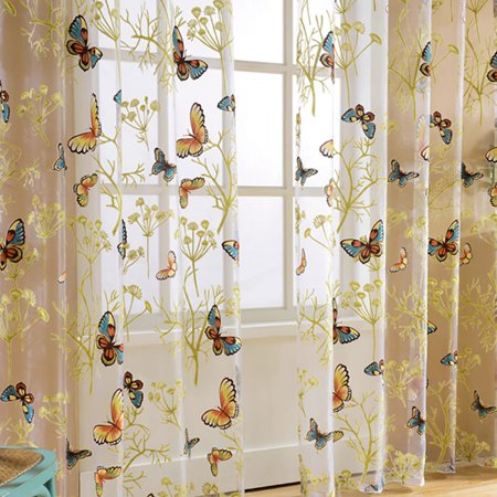 Cluxwal Floral Print Voile Butterfly Drape Panel Sheer Valances Door Window Room Curtain