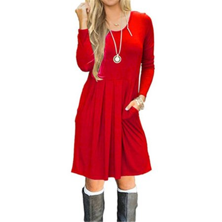 New Autumn and Winter Fashion Women Dress Long Sleeve Pullover Round Collar Pocket Dresses Mini (Misses Pullover Dress)
