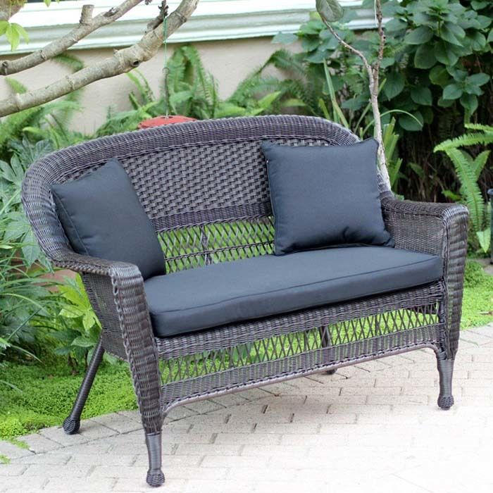 Delicieux Resin Wicker Patio Loveseat Cushion And Pillows By Jeco