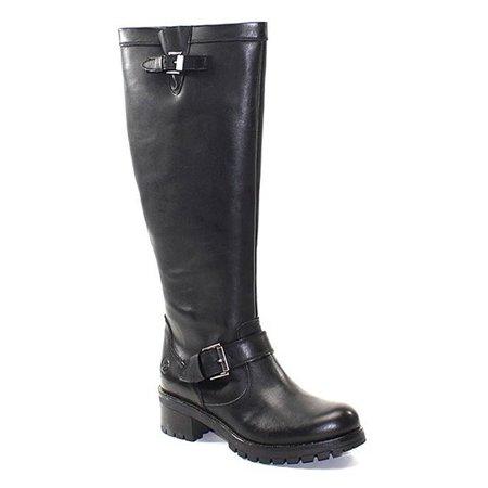 Bronx Leather Heels (BRONX FA LENA Black Leather Knee High Lugged Sole Stacked Heel Buckle Boot (41) )