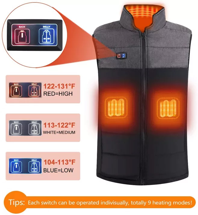 Motorcycling Evangelia.YM Unisex Heated Vest Coat Without Battery 7 Section USB Warmer Durable for Hiking Hunting Skiing