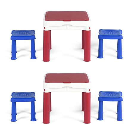 Keter Construction LEGO & Duplo Compatible Activity Table w/ 2 ...