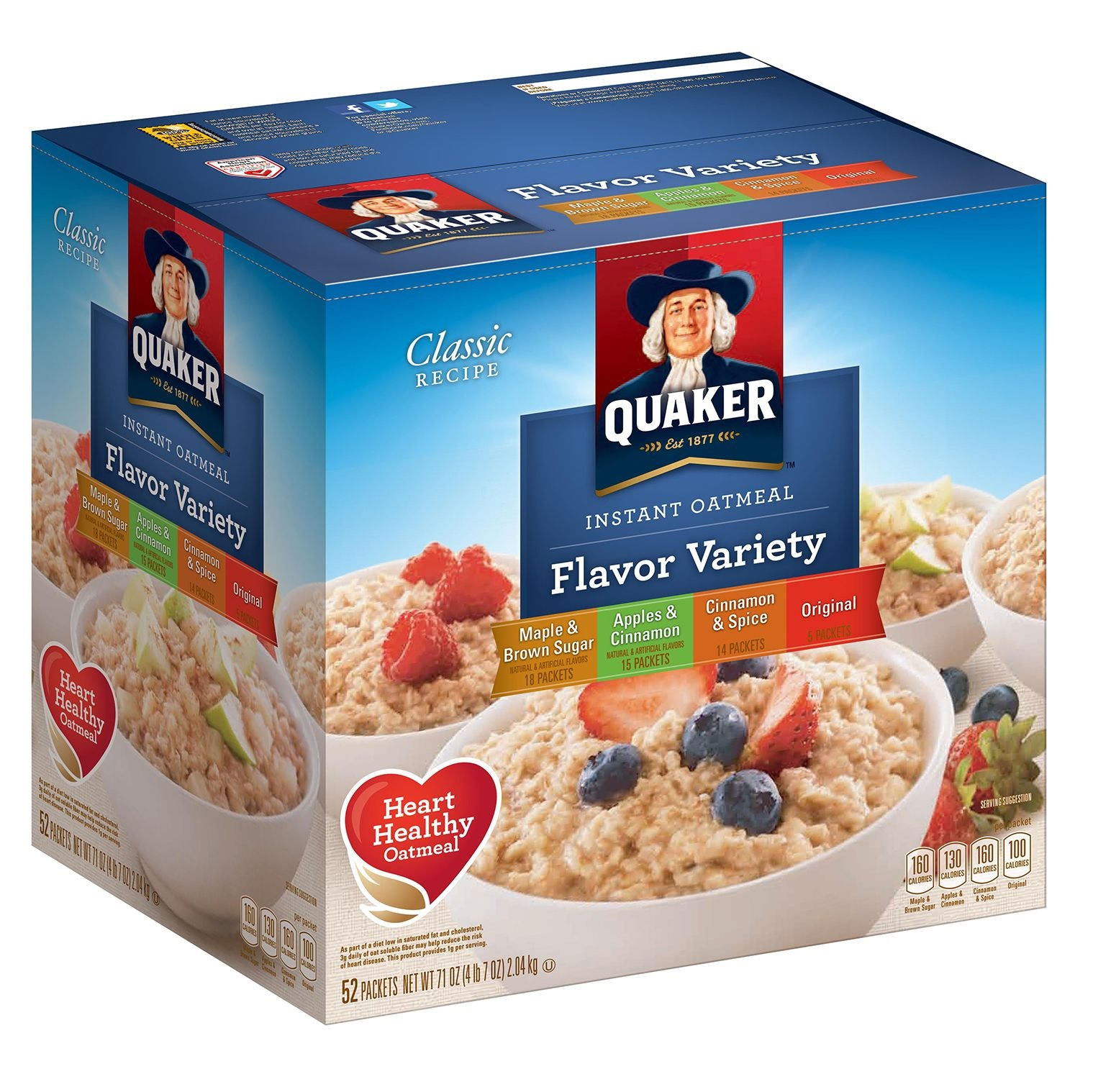 Quaker Instant Oatmeal Variety Pack - 52ct