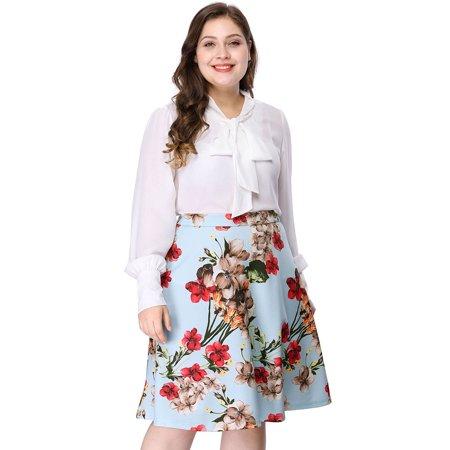 Unique Bargains Women's Plus Size Zipper A Line Full Floral Print Skirt - Cool Unique Halloween Costumes