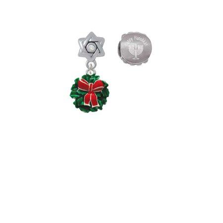 Enamel Wreath with Bow Happy Hanukkah Charm Beads (Set of 2)