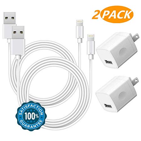 Chargers 2-Pack Charging Cable Cords and 2-Pack USB Wall Adapter Power Block Plug Compatible iPhone X/8/8 Plus/7/7 Plus/6/6S/6 Plus/5S/SE/Mini/Air/Pro Case