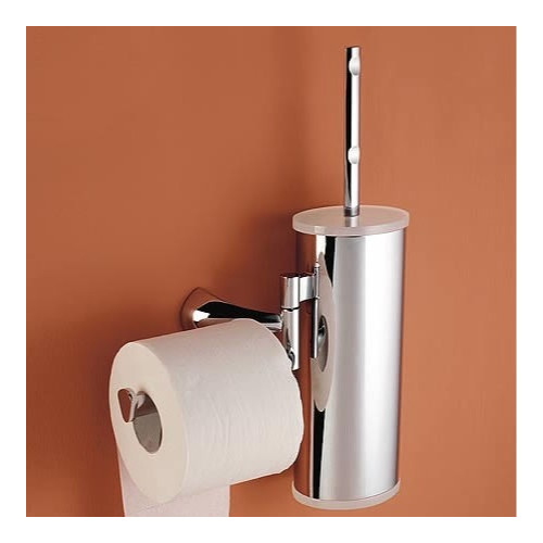 Toscanaluce by Nameeks Wall Mounted Toilet Brush Holder with Optional Toilet Paper Roll Holder