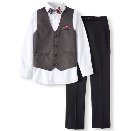 Charcoal Birdseye Dressy Vest with Dress Shirt, Twill Pants & Bowtie, 4-Piece Outfit Set (Little Boys & Big Boys)