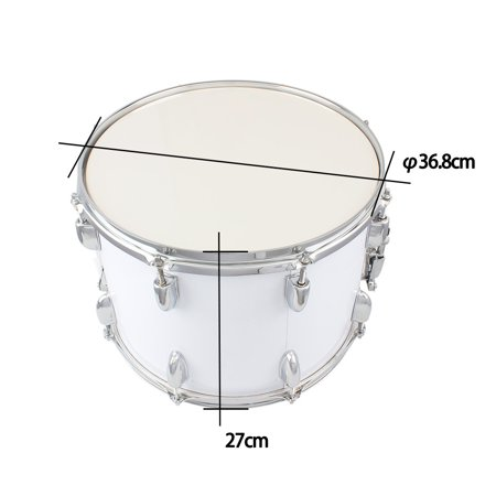 GLiving  Student Marching Snare Drum 14 X10 Inches Kids Percussion Kit White with Drumsticks Strap White