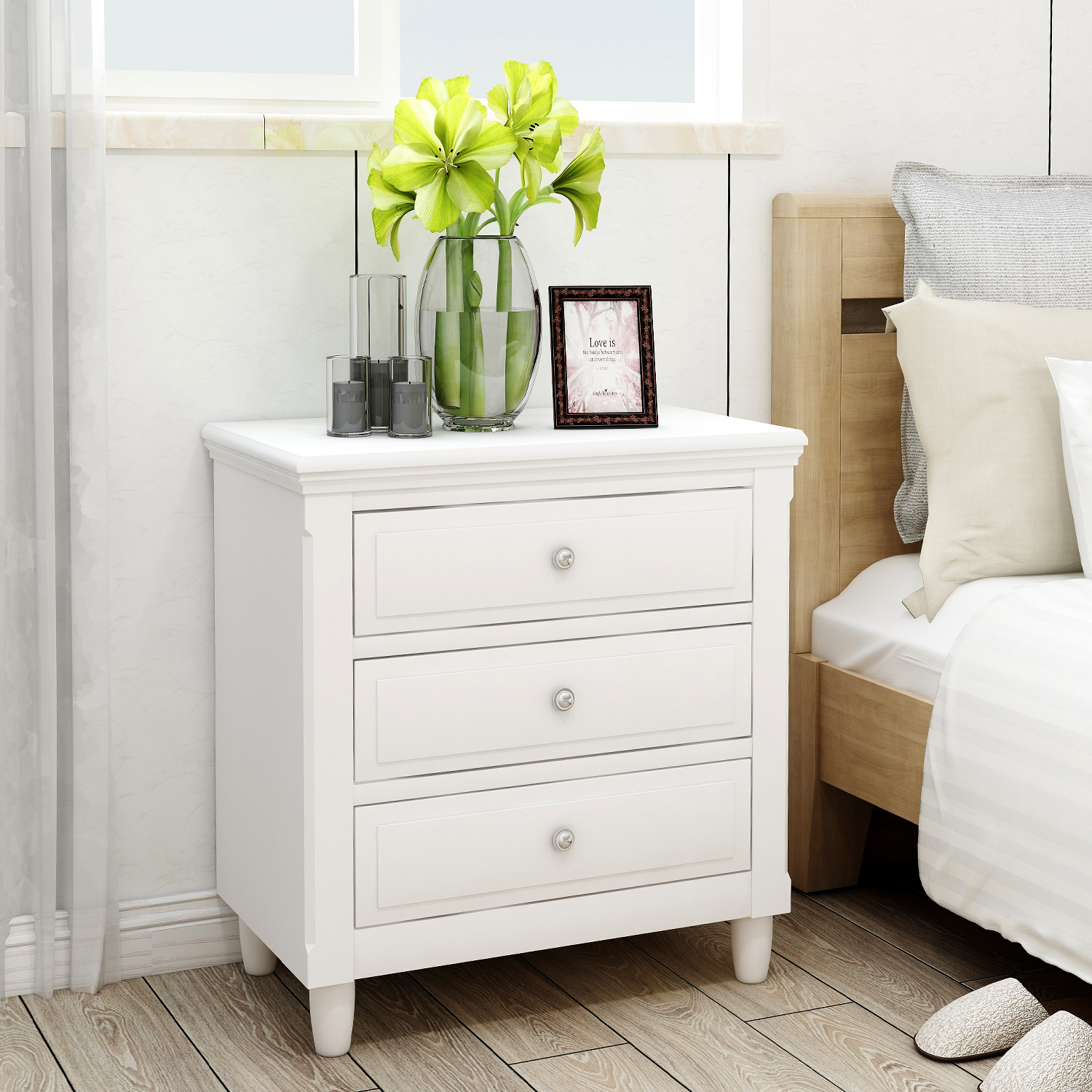 Image of: Endside Table With Three Drawers Wooden Bedroom Nightstand Classic Contemporary Style File Cabinet Storage Decoration Bedside Table For Bedroom Living Room 28 H X 28 W X 17 D White Y0294